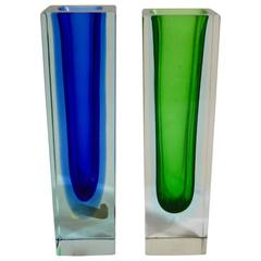 Set of Two Blue and Green Sommerso Murano Vases