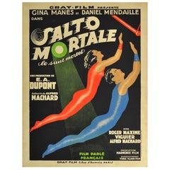 Original Vintage Art Deco Circus Movie Poster Salto Mortale Trapeze Fatal Leap