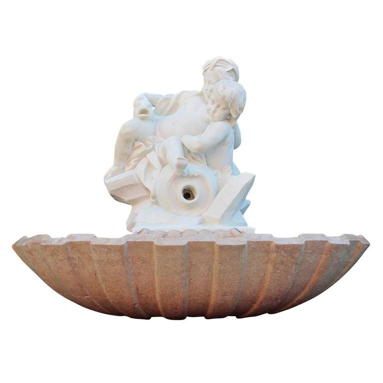 French 19th Century Carved White Marble Allegorical Garden Fountain with Putti