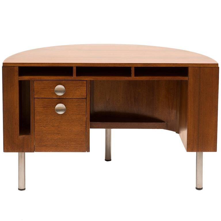 Art Deco Demilune Desk by Gilbert Rohde in Walnut, 1942 For Sale