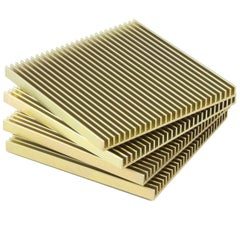Fin Coasters from Souda, Set of Four, Gold Anodized Aluminium, Modern, Minimal