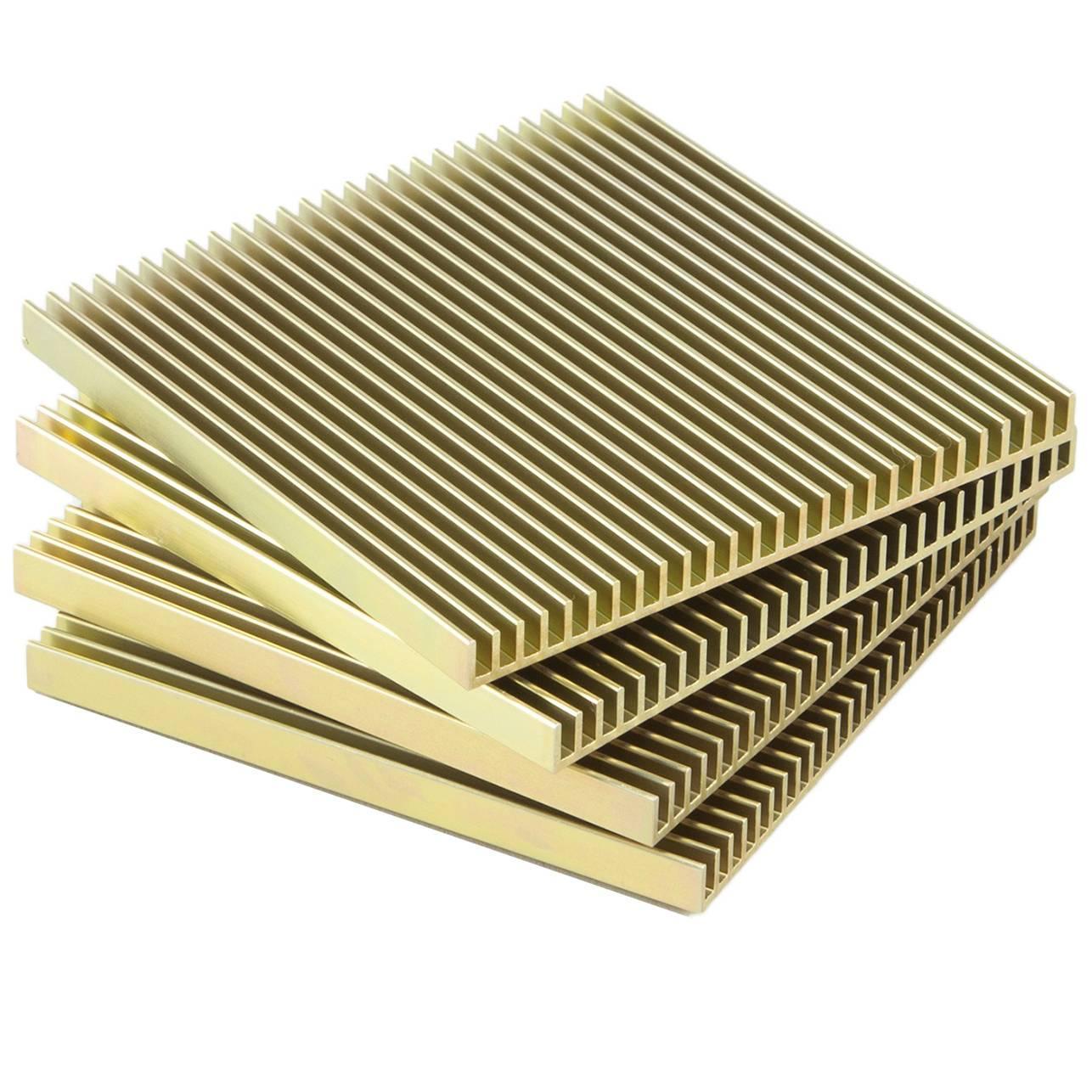 Fin Coasters Set Of Four Gold Anodized Aluminium Modern