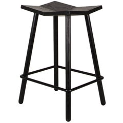 Customizable Modern Black Mitre Wooden Stool from Souda, Made to Order