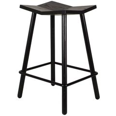 Modern Black Mitre Wooden Stool, Contemporary Counter-Height Stool