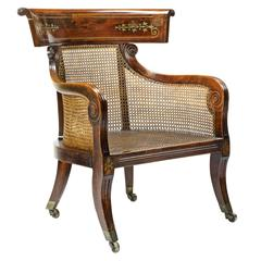Fine English Regency Faux Rosewood Brass Inlaid Tub Bergere Armchair