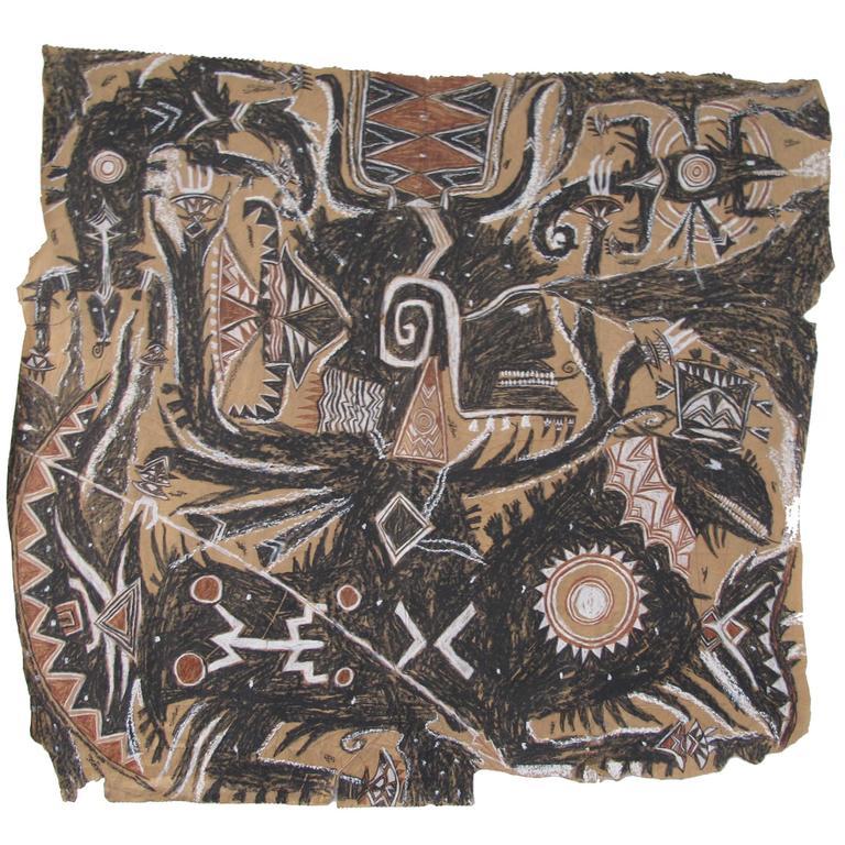 "Francois Burland Large Art Brut Drawing ""Azawak"" For Sale"