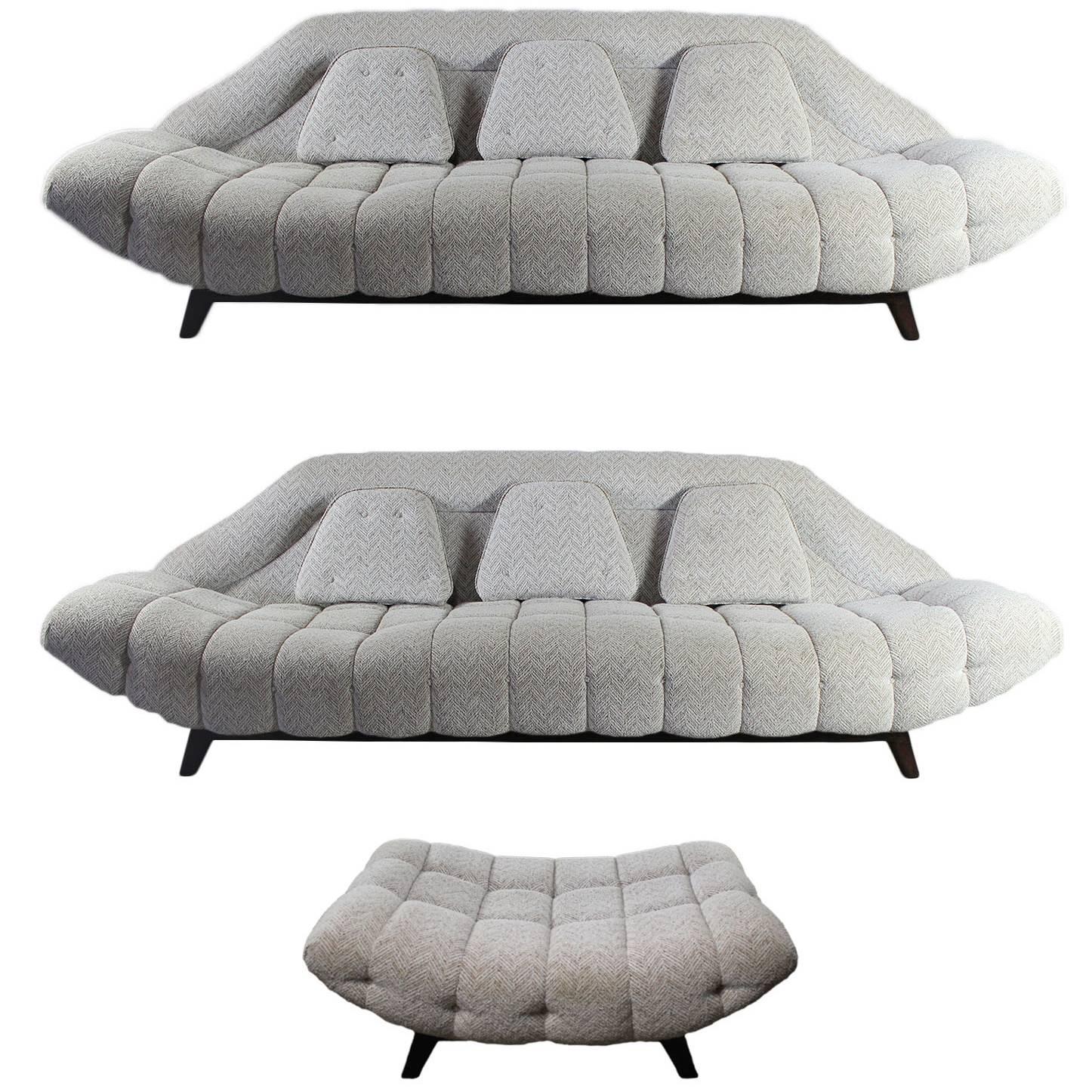 Set Of 2 Mid Century Modern Adrian Pearsall Style Gondola Sofas And 1  Ottoman At 1stdibs