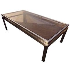 Coffee Table by Guy Lefevre for Maison Jansen, 1970s, Brushed Steel