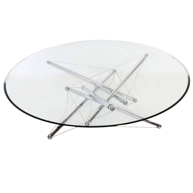 """Coffee Table """"Tensegrity"""" 713 by Theodore Waddell for Cassina, 1973"""