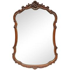 Early 20th Century Carved Mahogany Crest Mirror