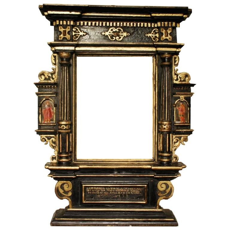 Very rare 17th century tabernacle frame mounted as mirror for Types of mirror frames