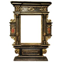 Very Rare 17th Century Tabernacle Frame Mounted as Mirror, Germany, Dated 1633