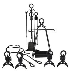 Jacques Adnet Large Fireplace Set with Andirons, French, circa 1950