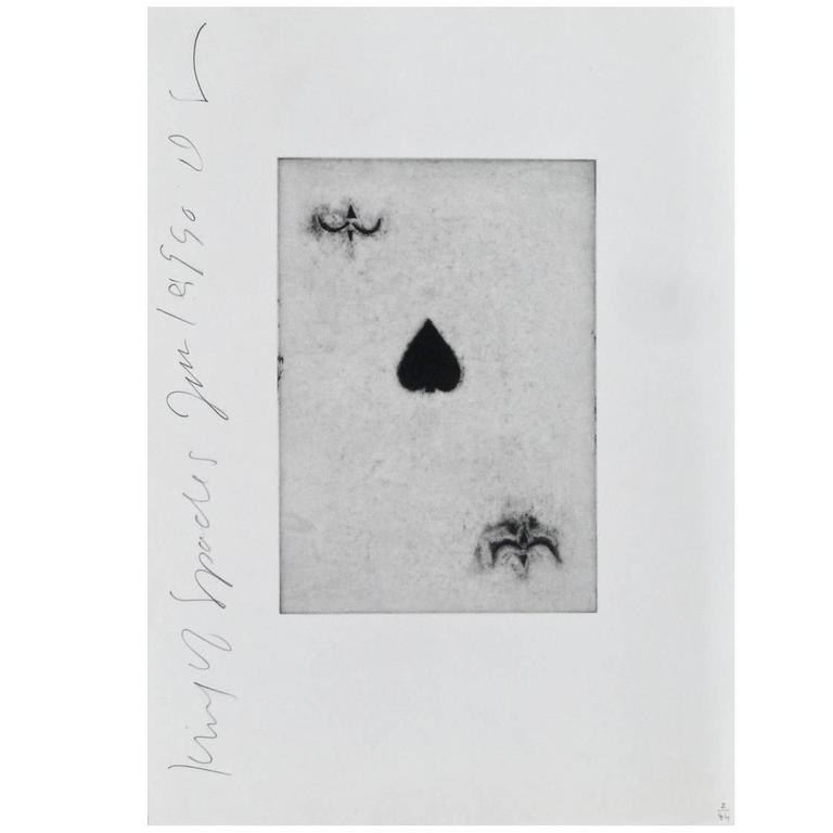 """Aquatint Etching by Donald Sultan; """"King of Spades"""", 1990"""