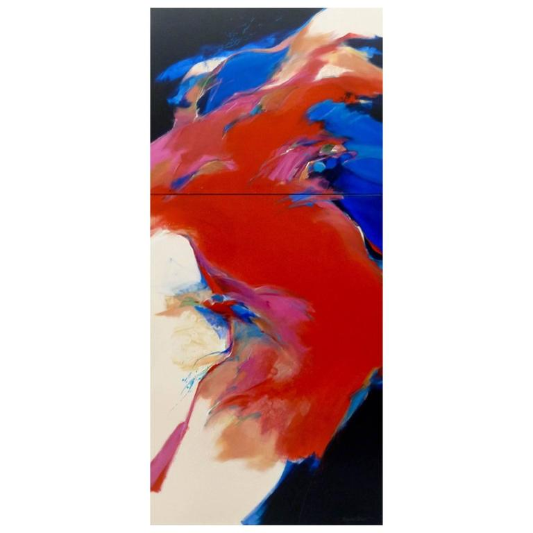 """Monumental Acrylic on Canvas Painting 'Diptych' by Mary Jane Schmidt """"Red Wind"""""""