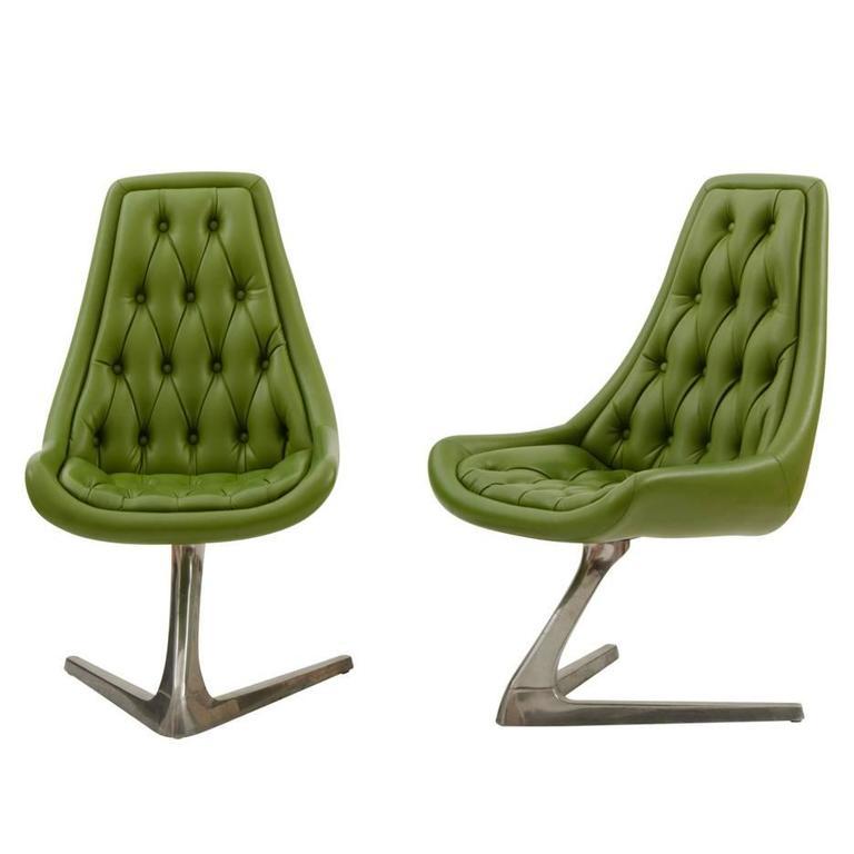 Pair Of Mid Century Avocado Green Chromcraft Chairs Circa