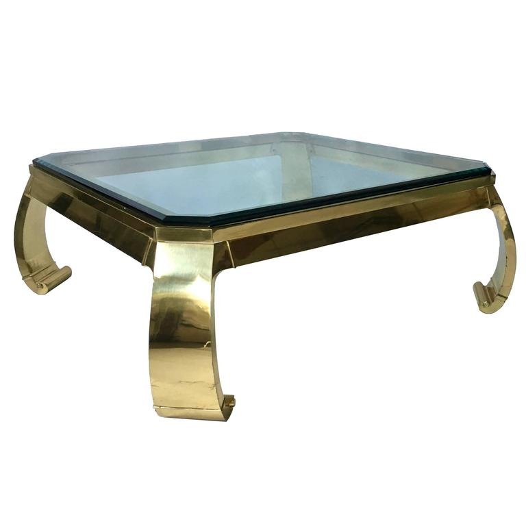 1970s Karl Springer Asian Inspired Brass And Glass Coffee Table For Sale At 1stdibs