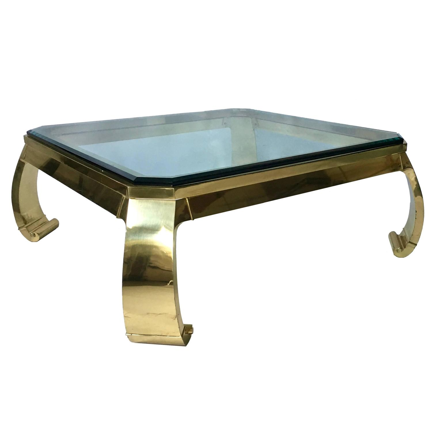 Exceptional 80s Brass and Glass Coffee Table Attributed to Karl