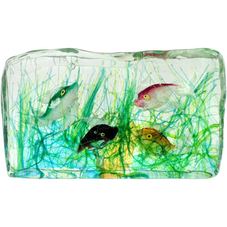 cenedese murano green pink orange black fish italian art. Black Bedroom Furniture Sets. Home Design Ideas