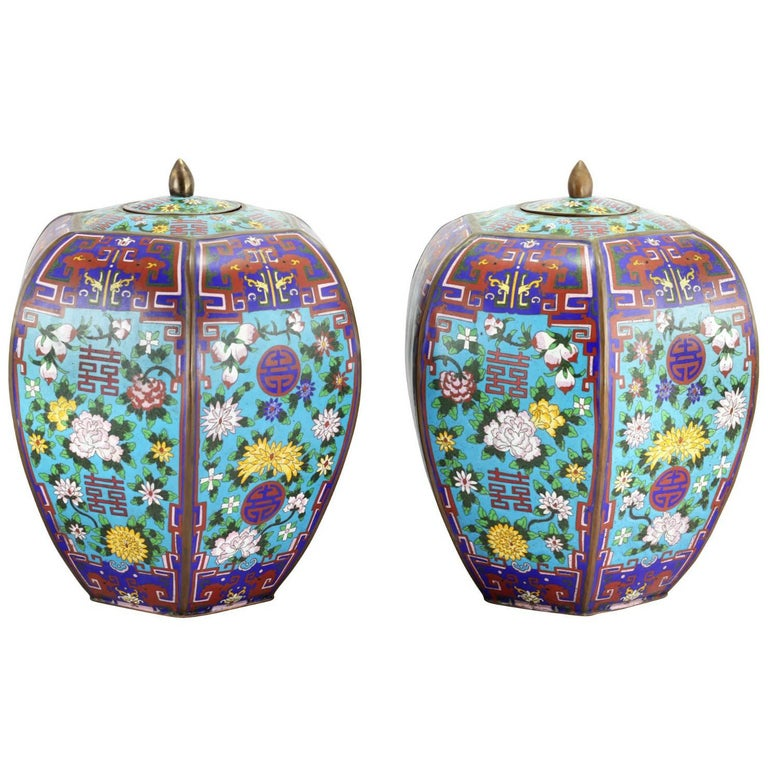 Pair of Large Chinese Cloisonne Enamel Lidded Jars