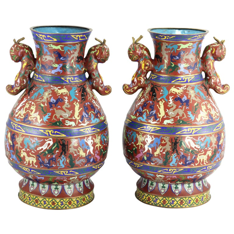 Pair Of Chinese Cloisonne Vases With Handles For Sale At 1stdibs