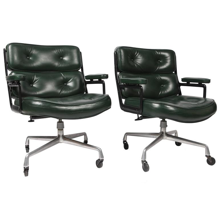 green leather office chair. Pair Of Eames ES 106 Green Leather Desk Chair For Sale Office F