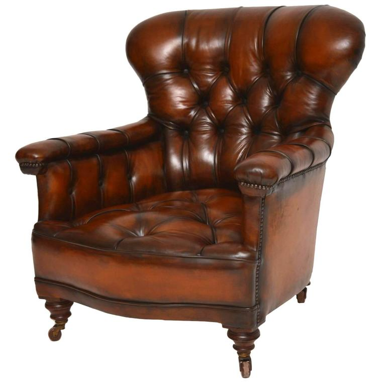 Stunning Antique Victorian Leather Armchair For Sale