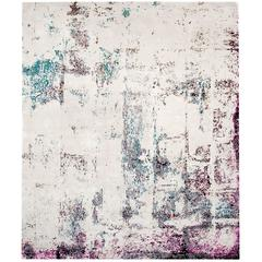 'Brick No. 04_Teal' Hand-Knotted Tibetan Contemporary Abstract Rug Wool & Silk