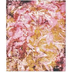 'Country Garden_Pink' Hand-Knotted Tibetan Contemporary Abstract Rug Wool & Silk