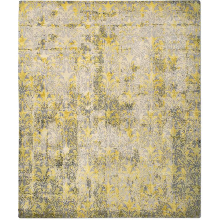 'Cover_Yellow' Hand-Knotted Tibetan Rug Made In Nepal By