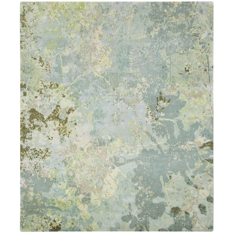'Silhouette_Original' Hand-Knotted Tibetan Contemporary Abstract Rug Wool & Silk
