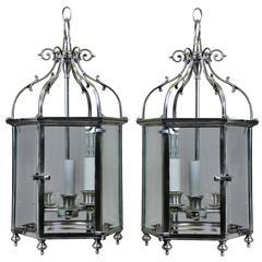 Pair of English Silver Lanterns