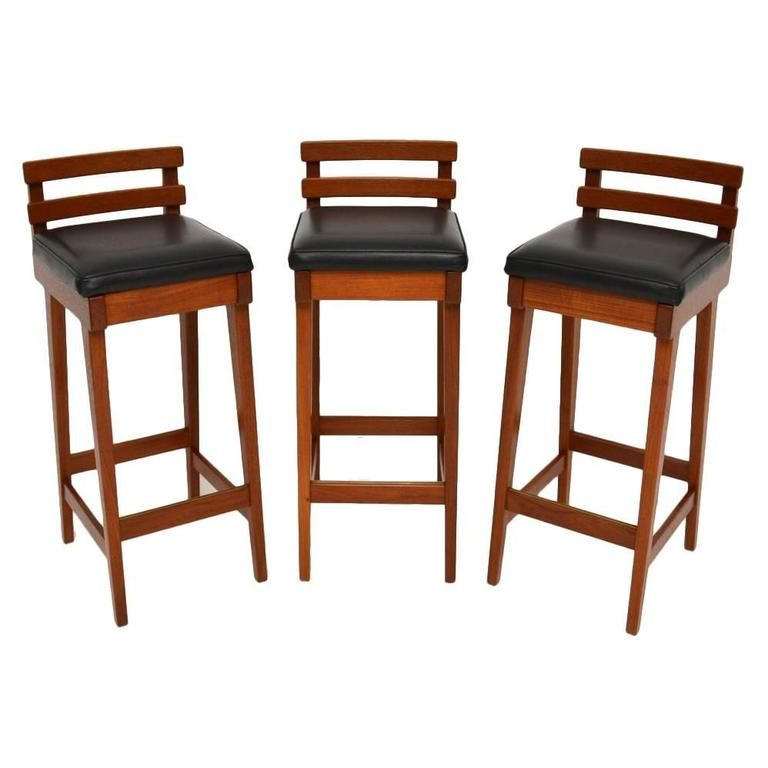 Set of three danish teak bar stools by erik buch for dyrlund vintage 1960s at 1stdibs - Erik buch bar stool ...