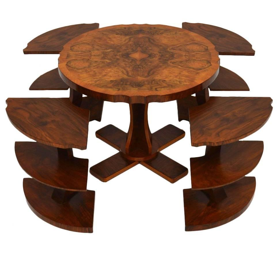 Art deco burr walnut nesting coffee table vintage 1920s for K furniture coffee table