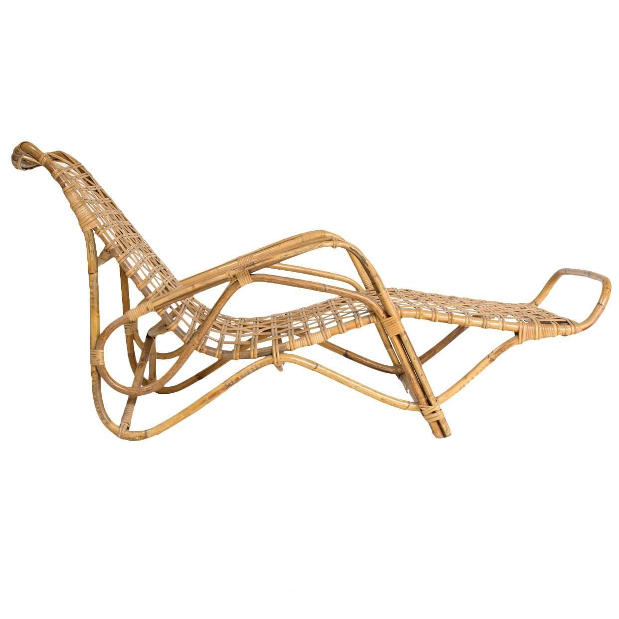 Vittorio bonacina rattan chaise longue for sale at 1stdibs for Cane chaise longue