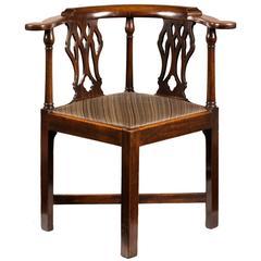 18th Century Mahogany Corner Armchair