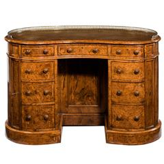 19th Century Burr Walnut Kidney Shaped Desk