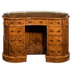 19th Century Burr Walnut Kidney Shaped Desk