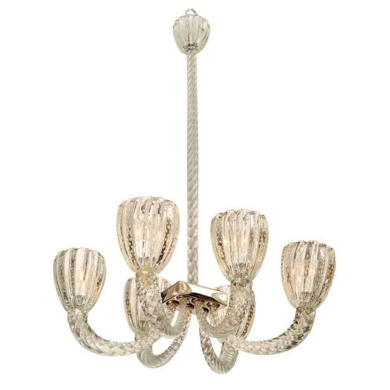 1930s Six-Armed Murano Glass Chandelier