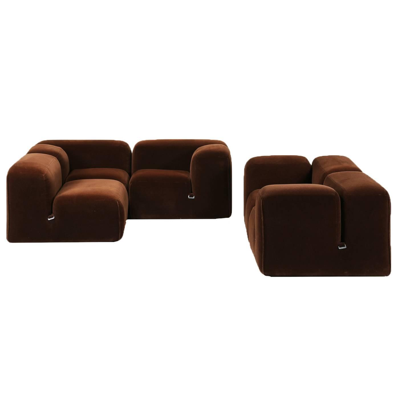 mario bellini dark brown velvet le mura sofa range. Black Bedroom Furniture Sets. Home Design Ideas