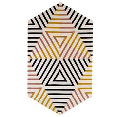 kinder MODERN Blackberry Bone Reverse Zebra Lozenge Area Rug in 100% Wool