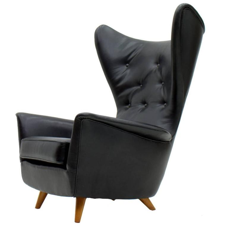 Black Leather Wingback Lounge Chair 1950s For Sale at 1stdibs