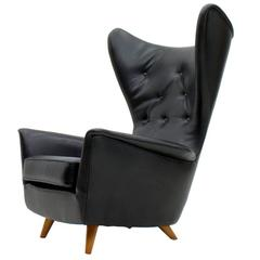 Black Leather Wingback Lounge Chair, 1950s