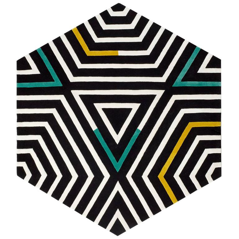 kinder MODERN Black and White Reverse Zebra Large Hexagon Area Rug in 100% Wool