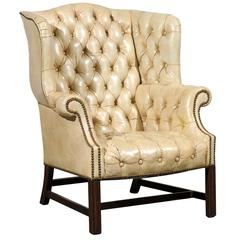 20th Century Tufted Georgian Style Wing Chair, White Leather