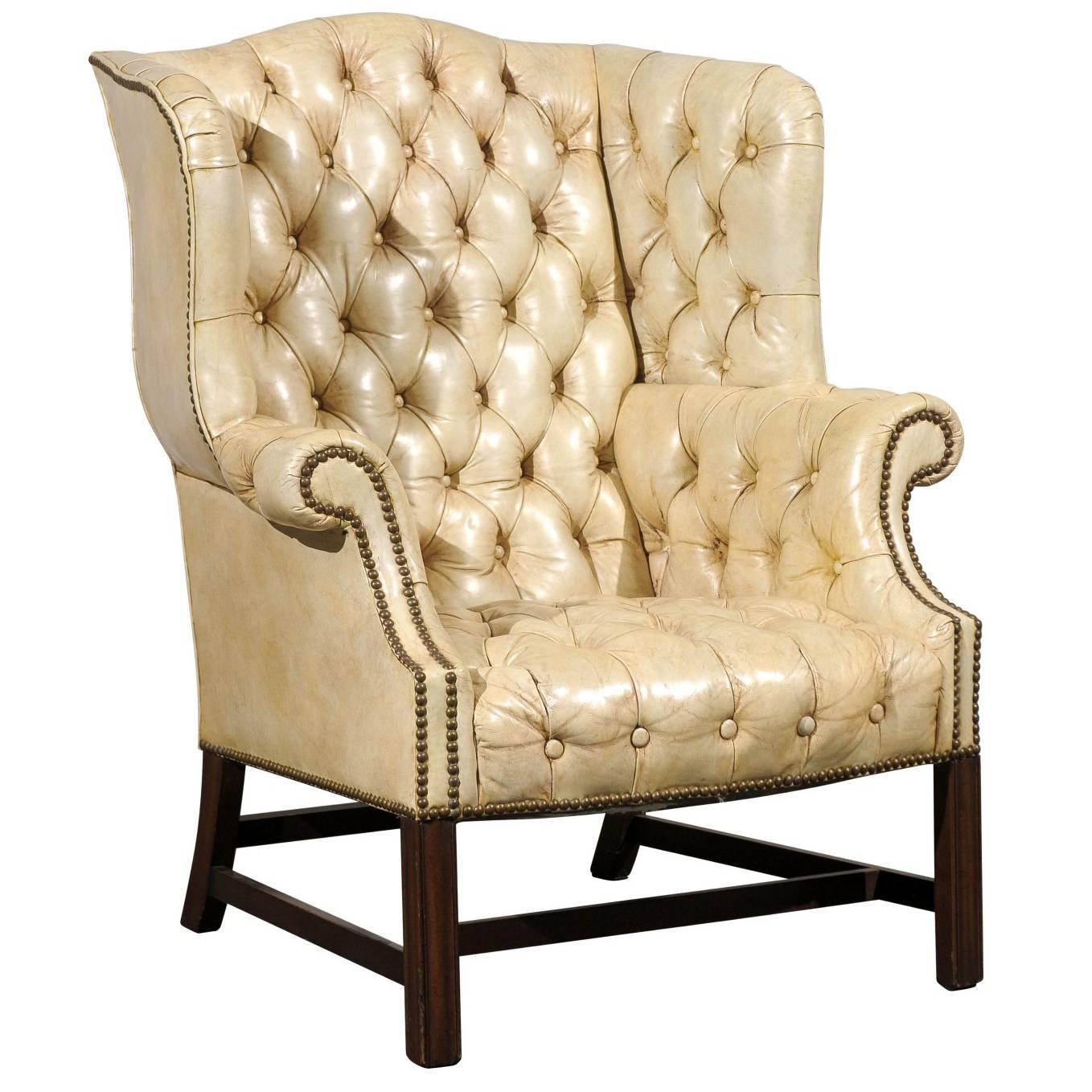 20th Century Tufted Georgian Style Wing Chair White
