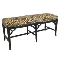 Mid-Century Faux Bamboo Upholstered Bench