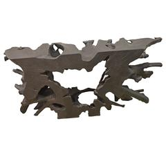 Triple Burnt Teak Wood Console or Coffee Table