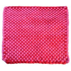 Pink 'Potholder' Rug in Woven Rayon Jersey by WW3