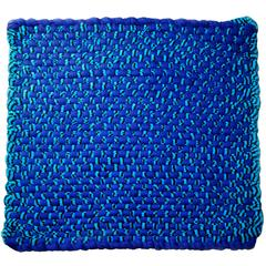 Blue 'Potholder' Rug in Woven Rayon Jersey by WW3